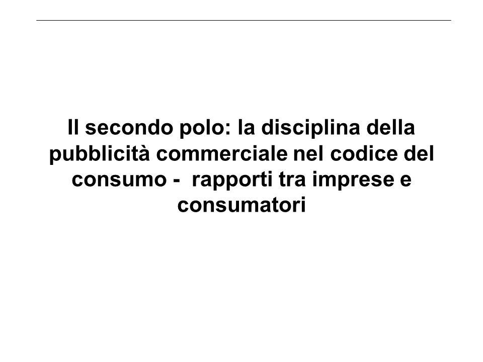 Il secondo polo: la disciplina della pubblicità commerciale nel codice del consumo - rapporti tra imprese e consumatori