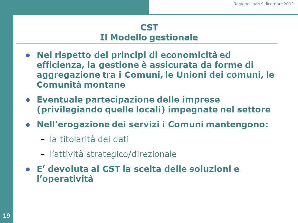 19 Regione Lazio 9 dicembre 2003 CST Il Modello gestionale Nel rispetto dei principi di economicità ed efficienza, la gestione è assicurata da forme di aggregazione tra i Comuni, le Unioni dei comuni, le Comunità montane Eventuale partecipazione delle imprese (privilegiando quelle locali) impegnate nel settore Nell'erogazione dei servizi i Comuni mantengono: – la titolarità dei dati – l'attività strategico/direzionale E' devoluta ai CST la scelta delle soluzioni e l'operatività