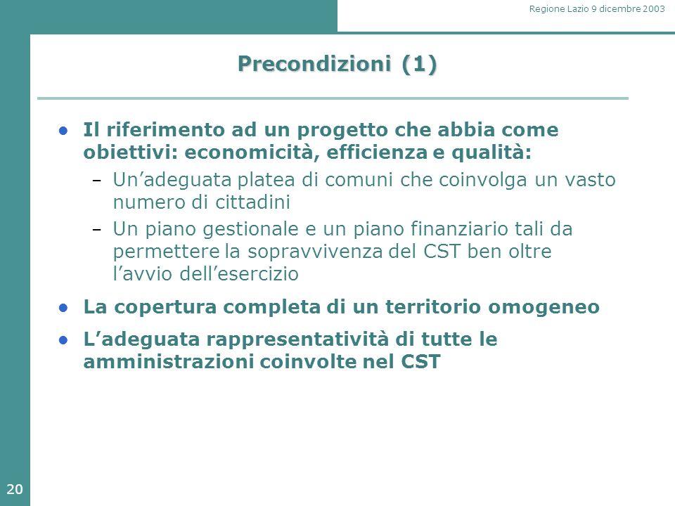 20 Regione Lazio 9 dicembre 2003 Precondizioni (1) Il riferimento ad un progetto che abbia come obiettivi: economicità, efficienza e qualità: – Un'ade
