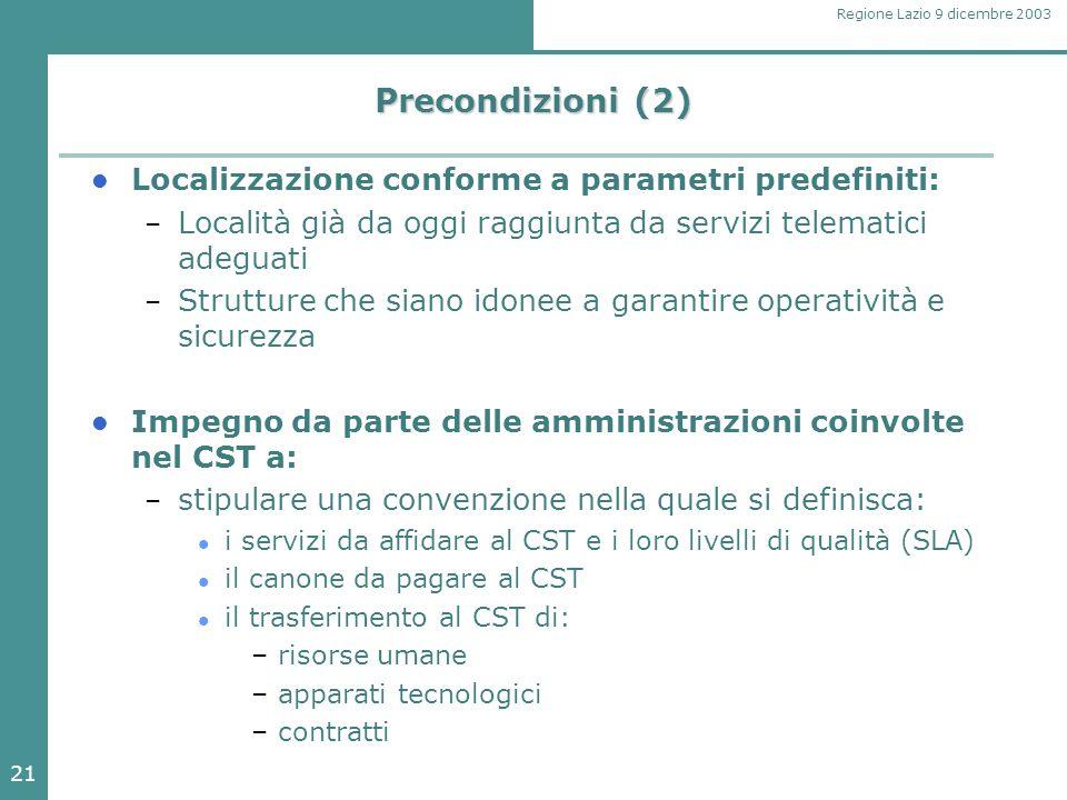 21 Regione Lazio 9 dicembre 2003 Precondizioni (2) Localizzazione conforme a parametri predefiniti: – Località già da oggi raggiunta da servizi telema