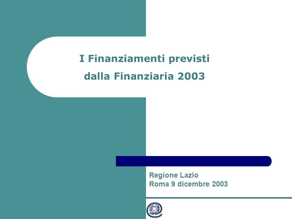 Ministro per l'Innovazione e le Tecnologie I Finanziamenti previsti dalla Finanziaria 2003 Regione Lazio Roma 9 dicembre 2003