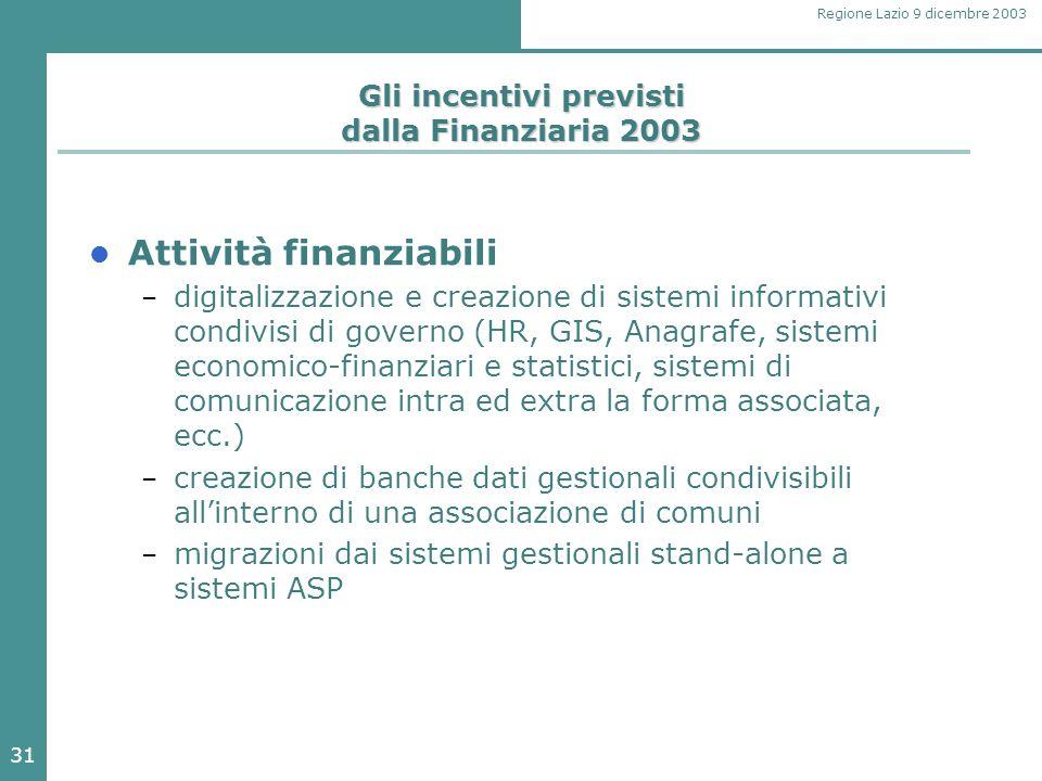 31 Regione Lazio 9 dicembre 2003 Gli incentivi previsti dalla Finanziaria 2003 Attività finanziabili – digitalizzazione e creazione di sistemi informa