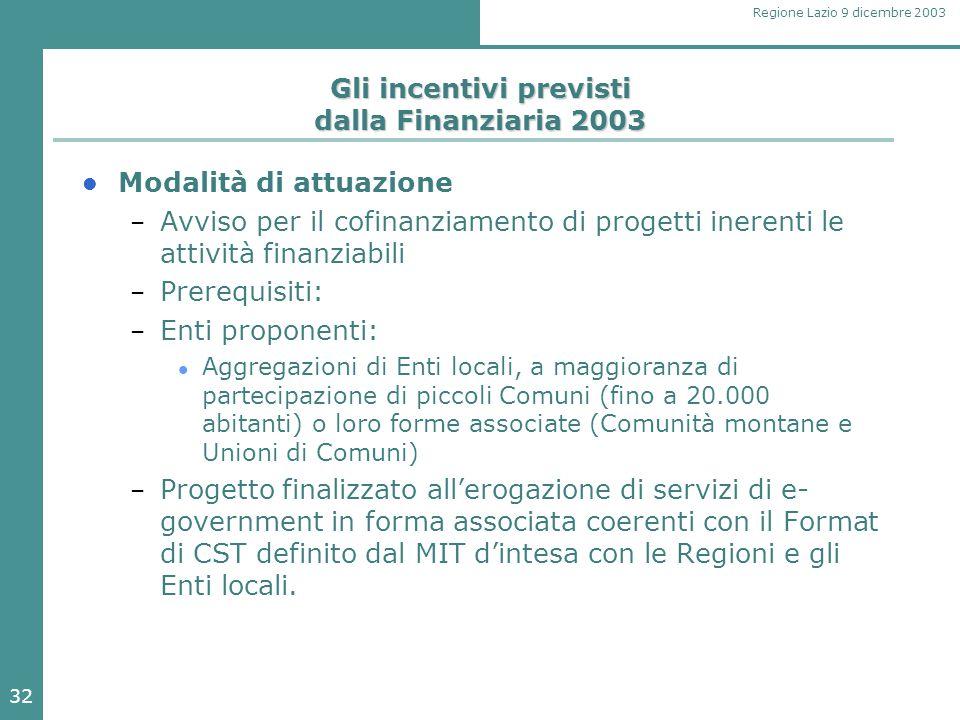 32 Regione Lazio 9 dicembre 2003 Gli incentivi previsti dalla Finanziaria 2003 Modalità di attuazione – Avviso per il cofinanziamento di progetti iner
