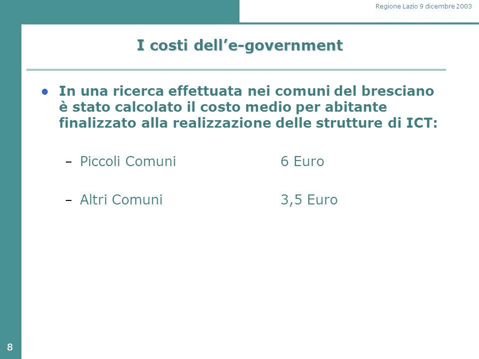 8 Regione Lazio 9 dicembre 2003 I costi dell'e-government In una ricerca effettuata nei comuni del bresciano è stato calcolato il costo medio per abitante finalizzato alla realizzazione delle strutture di ICT: – Piccoli Comuni6 Euro – Altri Comuni3,5 Euro