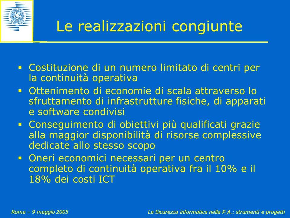 Roma – 9 maggio 2005La Sicurezza informatica nella P.A.: strumenti e progetti Le realizzazioni congiunte  Costituzione di un numero limitato di centr