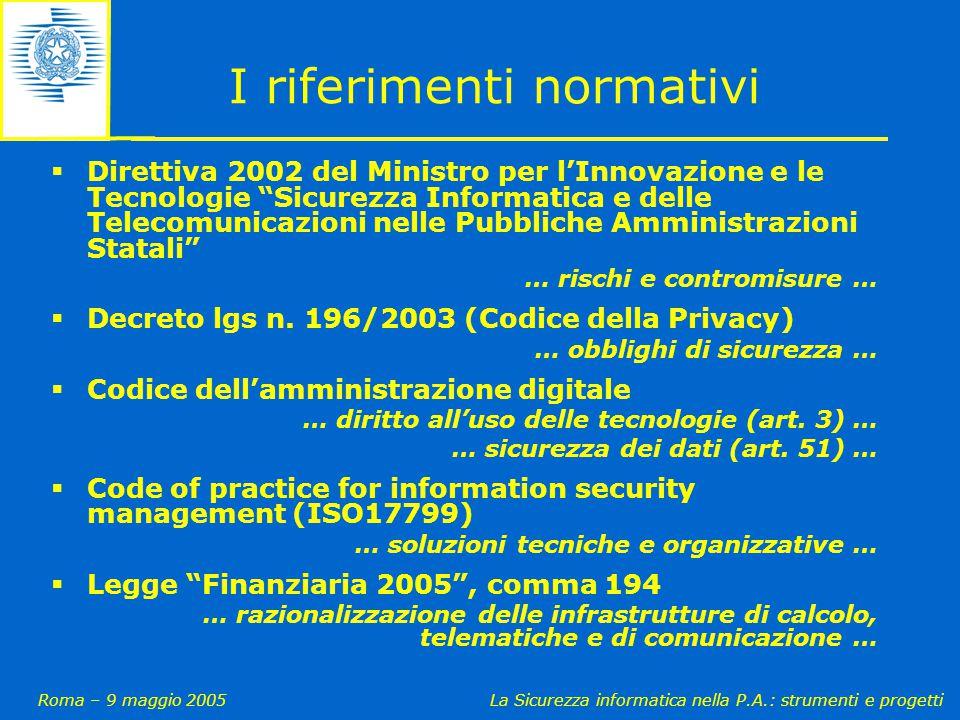 Roma – 9 maggio 2005La Sicurezza informatica nella P.A.: strumenti e progetti I riferimenti normativi  Direttiva 2002 del Ministro per l'Innovazione