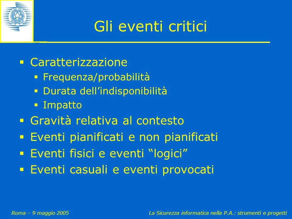 Roma – 9 maggio 2005La Sicurezza informatica nella P.A.: strumenti e progetti Gli eventi critici  Caratterizzazione  Frequenza/probabilità  Durata