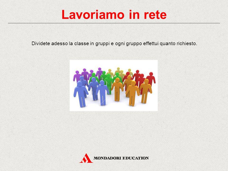 Lavoriamo in rete Dividete adesso la classe in gruppi e ogni gruppo effettui quanto richiesto.