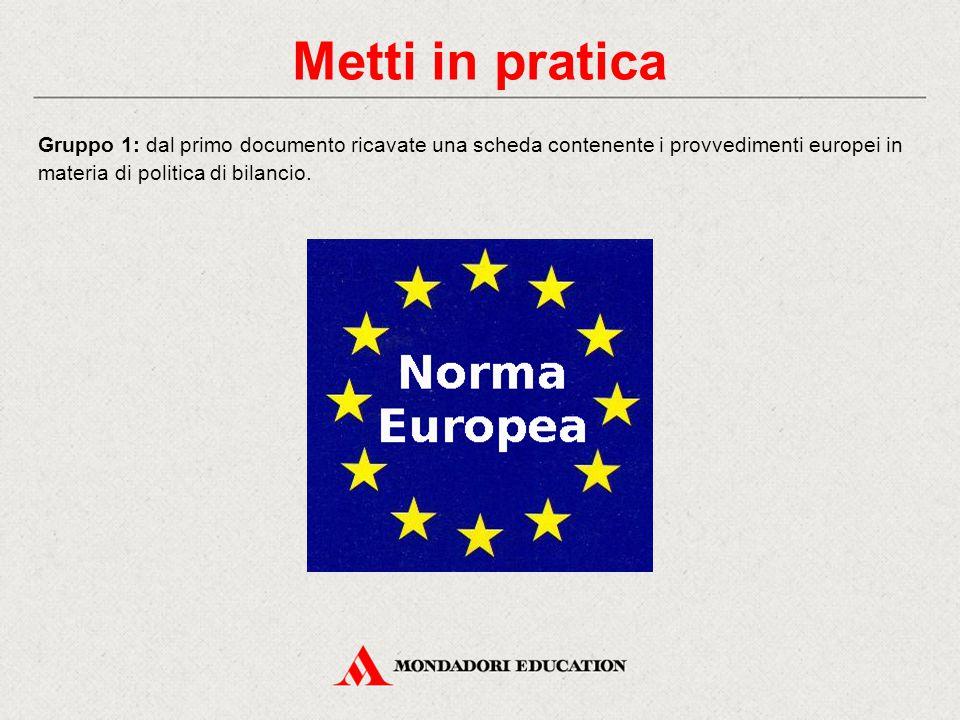 Metti in pratica Gruppo 1: dal primo documento ricavate una scheda contenente i provvedimenti europei in materia di politica di bilancio.