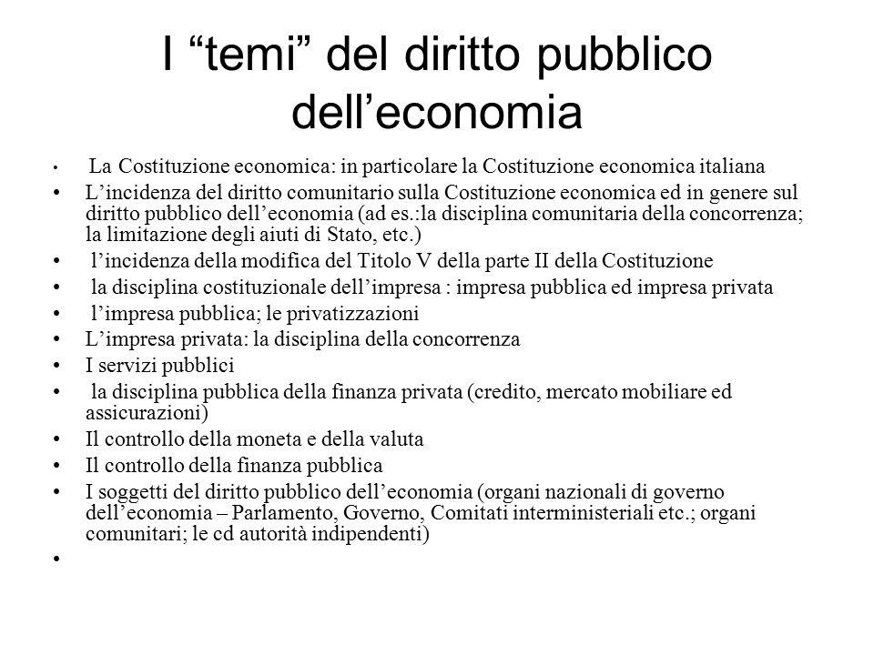 """I """"temi"""" del diritto pubblico dell'economia La Costituzione economica: in particolare la Costituzione economica italiana L'incidenza del diritto comun"""