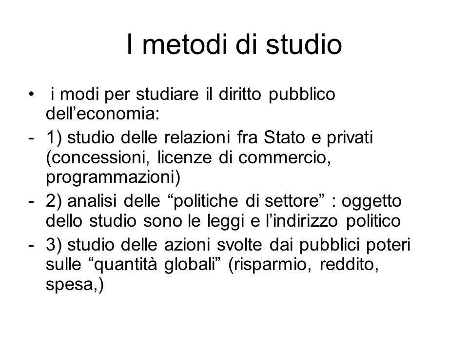 I metodi di studio i modi per studiare il diritto pubblico dell'economia: -1) studio delle relazioni fra Stato e privati (concessioni, licenze di comm