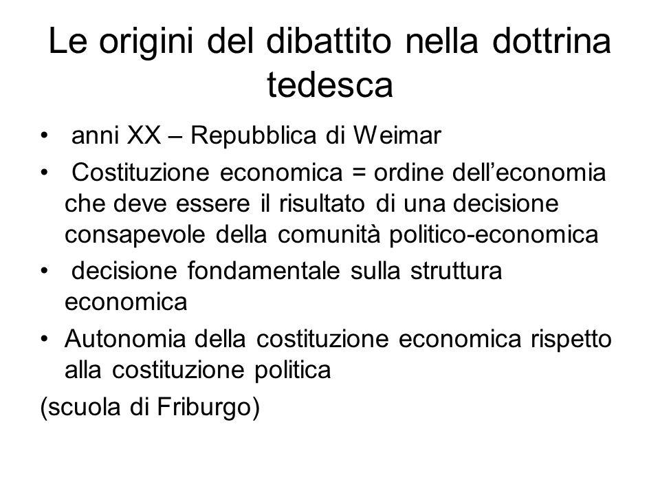 Le origini del dibattito nella dottrina tedesca anni XX – Repubblica di Weimar Costituzione economica = ordine dell'economia che deve essere il risult