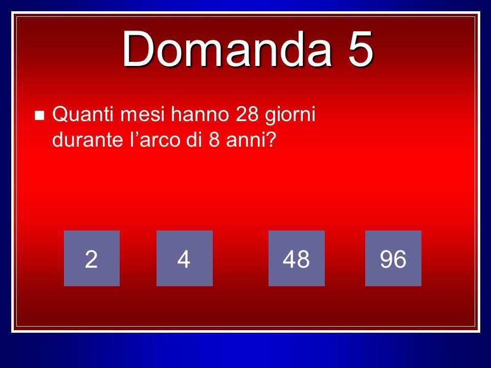 Quanti mesi hanno 28 giorni durante l'arco di 8 anni? 249648 Domanda 5