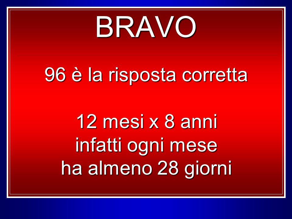 BRAVO 96 è la risposta corretta 12 mesi x 8 anni infatti ogni mese ha almeno 28 giorni