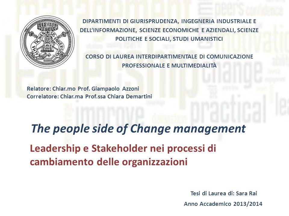 The people side of Change management Leadership e Stakeholder nei processi di cambiamento delle organizzazioni DIPARTIMENTI DI GIURISPRUDENZA, INGEGNERIA INDUSTRIALE E DELL'INFORMAZIONE, SCIENZE ECONOMICHE E AZIENDALI, SCIENZE POLITICHE E SOCIALI, STUDI UMANISTICI CORSO DI LAUREA INTERDIPARTIMENTALE DI COMUNICAZIONE PROFESSIONALE E MULTIMEDIALITÀ Relatore: Chiar.mo Prof.