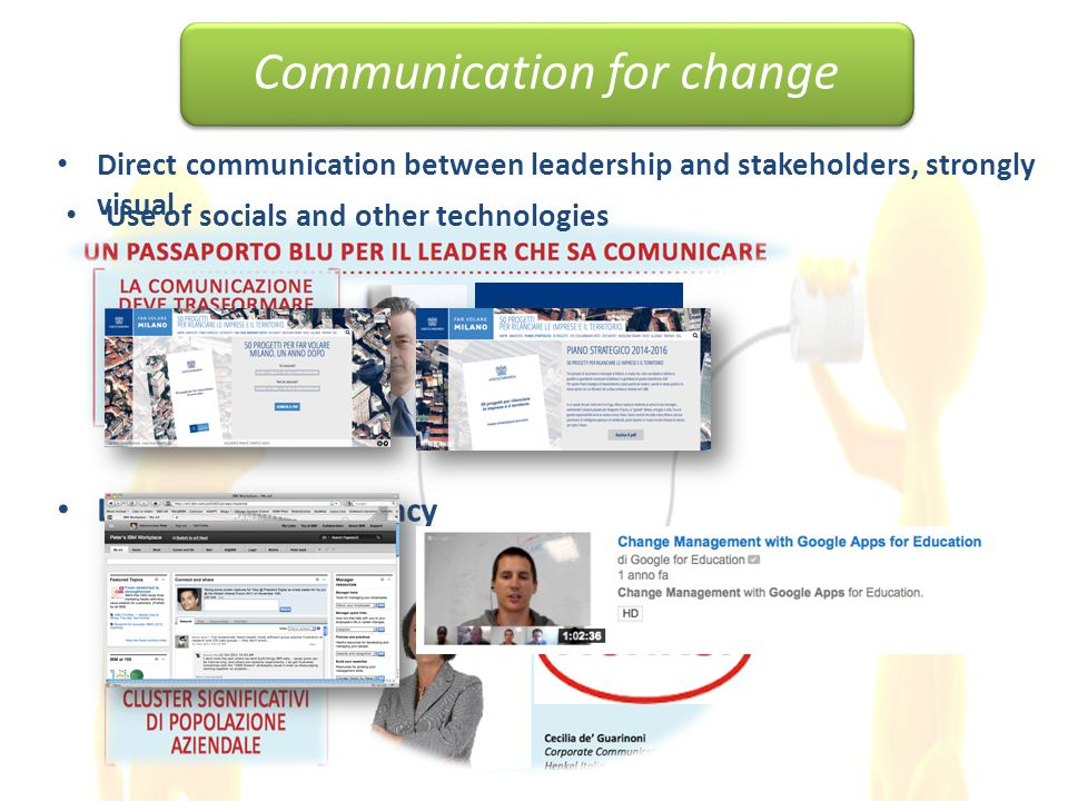 Direct communication between leadership and stakeholders, strongly visual Listening, transparency Communication for change Use of socials and other technologies
