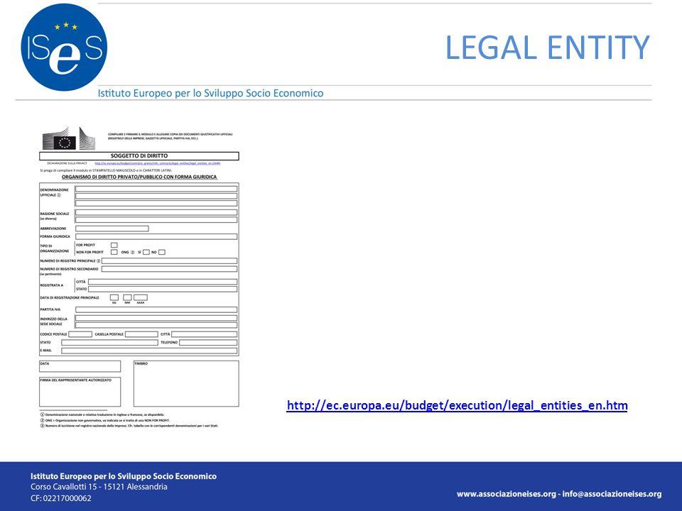 LEGAL ENTITY http://ec.europa.eu/budget/execution/legal_entities_en.htm