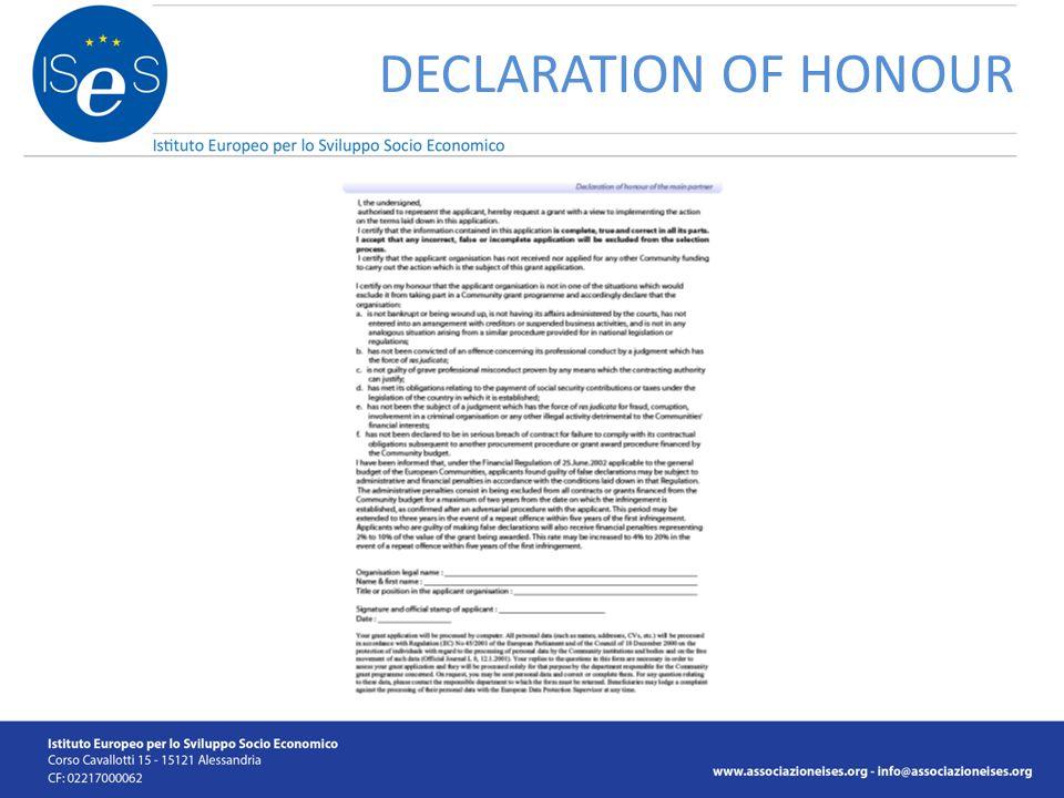 DECLARATION OF HONOUR