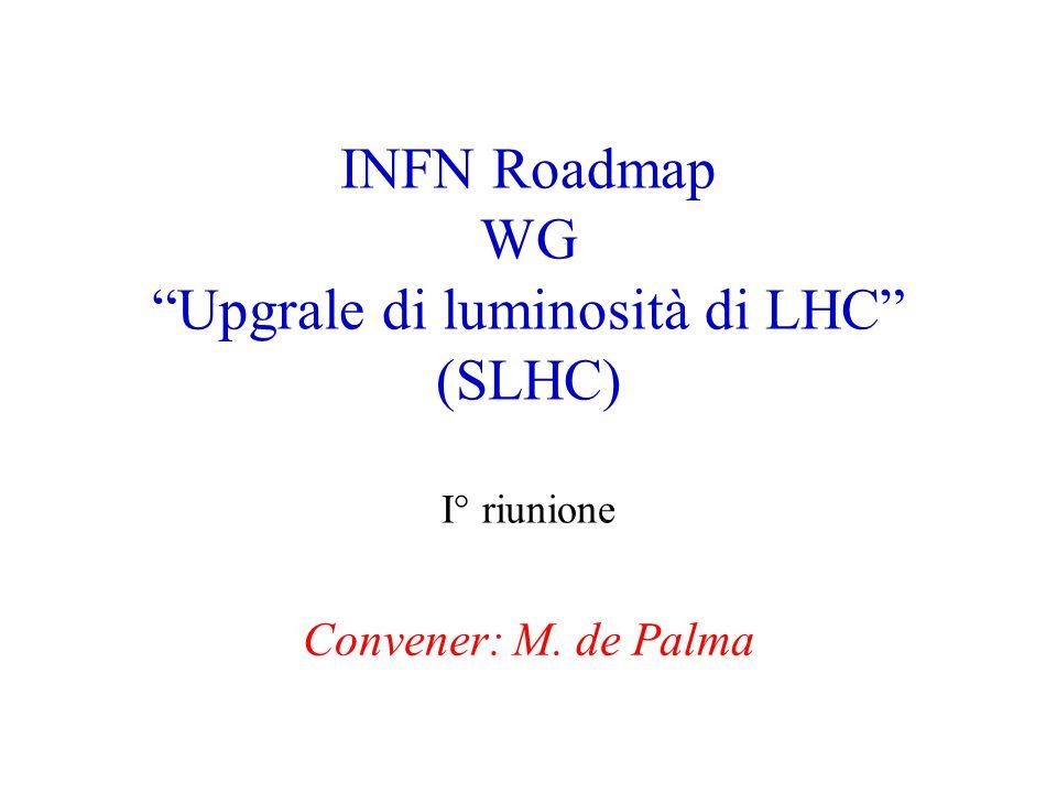 """INFN Roadmap WG """"Upgrale di luminosità di LHC"""" (SLHC) I° riunione Convener: M. de Palma"""