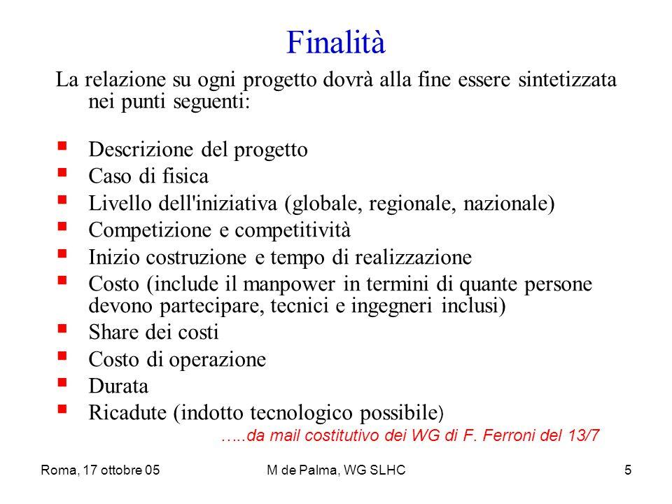 Roma, 17 ottobre 05M de Palma, WG SLHC5 Finalità La relazione su ogni progetto dovrà alla fine essere sintetizzata nei punti seguenti:  Descrizione d