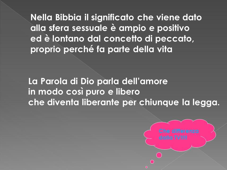 Nella Bibbia il significato che viene dato alla sfera sessuale è ampio e positivo ed è lontano dal concetto di peccato, proprio perché fa parte della