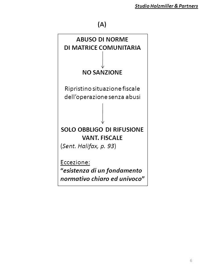Studio Holzmiller & Partners 6 ABUSO DI NORME DI MATRICE COMUNITARIA NO SANZIONE Ripristino situazione fiscale dell'operazione senza abusi SOLO OBBLIGO DI RIFUSIONE VANT.