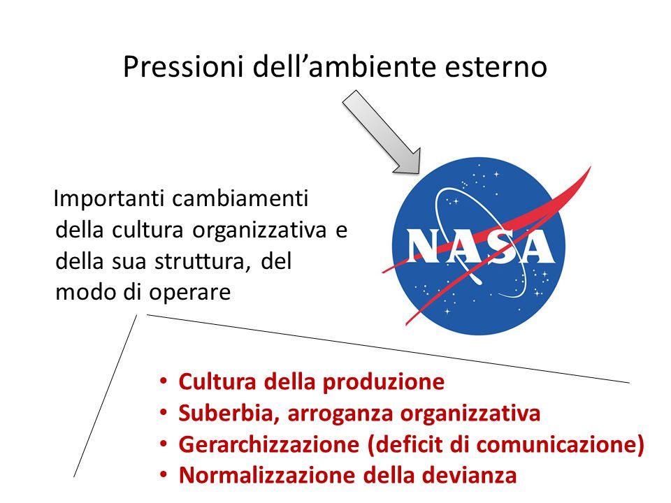 Importanti cambiamenti della cultura organizzativa e della sua struttura, del modo di operare Pressioni dell'ambiente esterno Cultura della produzione Suberbia, arroganza organizzativa Gerarchizzazione (deficit di comunicazione) Normalizzazione della devianza