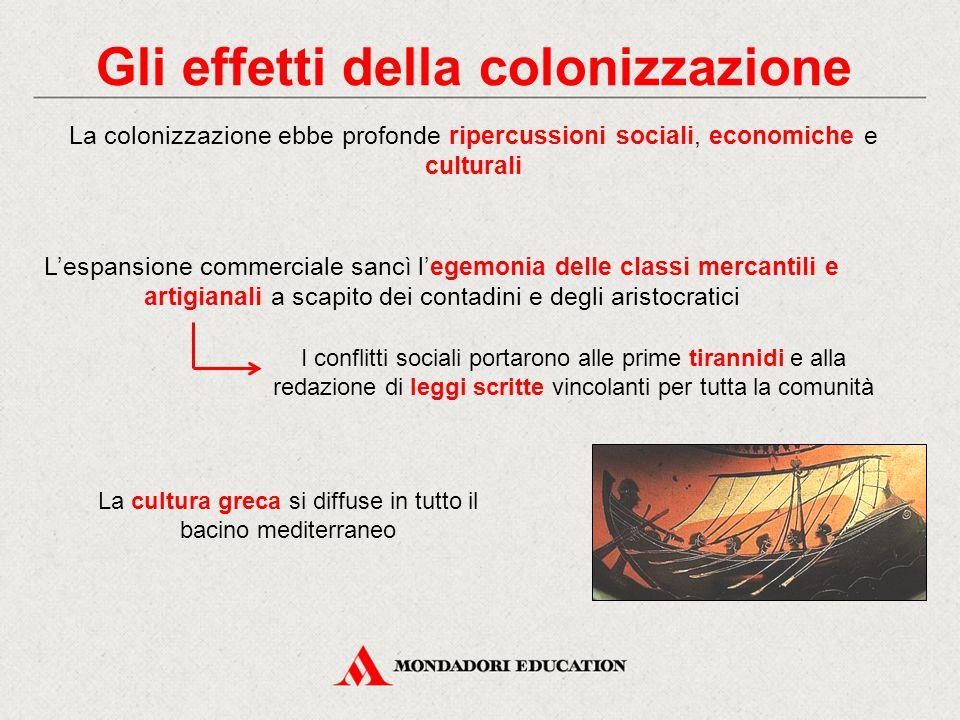 Gli effetti della colonizzazione La colonizzazione ebbe profonde ripercussioni sociali, economiche e culturali I conflitti sociali portarono alle prim
