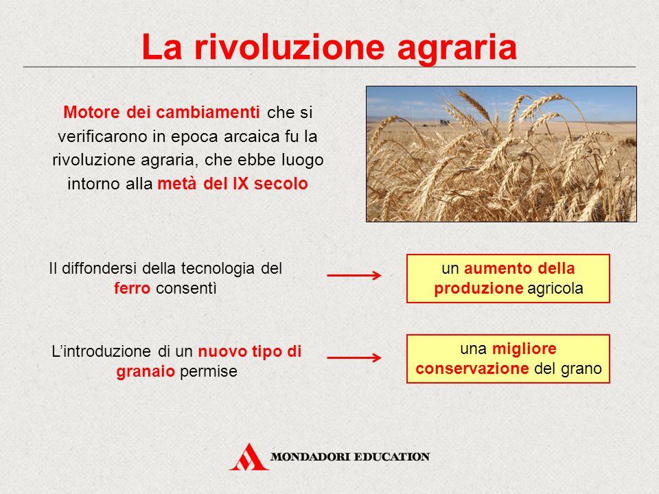 La rivoluzione agraria Motore dei cambiamenti che si verificarono in epoca arcaica fu la rivoluzione agraria, che ebbe luogo intorno alla metà del IX
