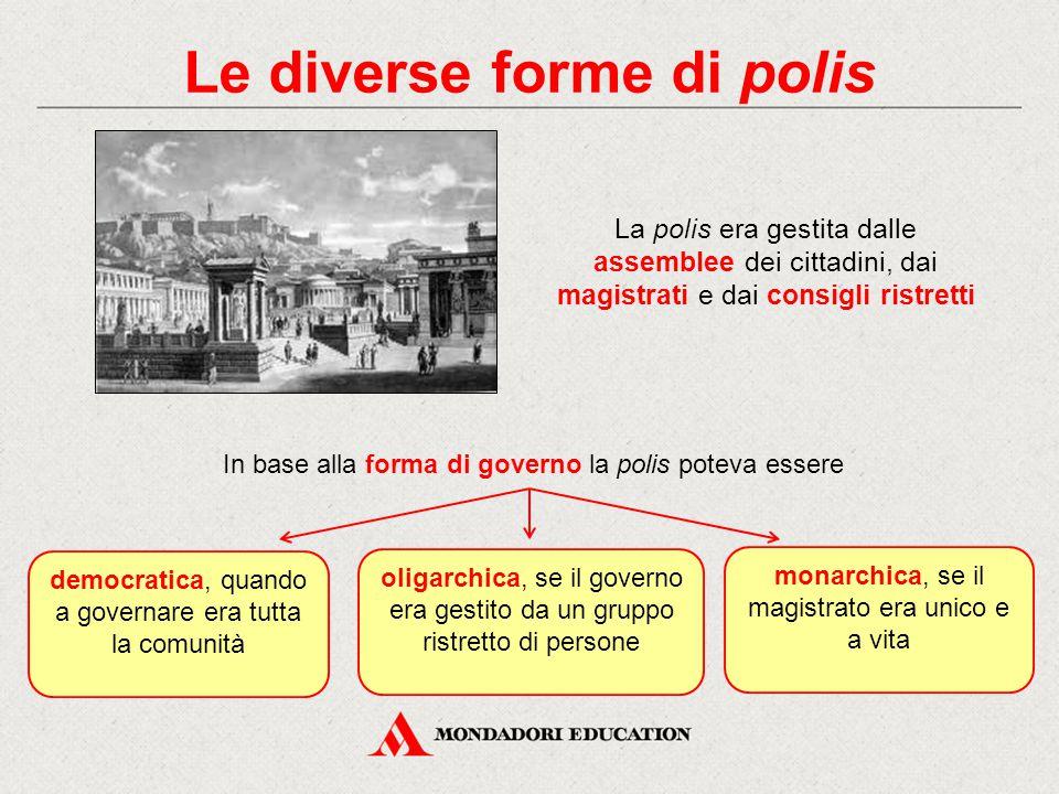 Le diverse forme di polis La polis era gestita dalle assemblee dei cittadini, dai magistrati e dai consigli ristretti oligarchica, se il governo era g