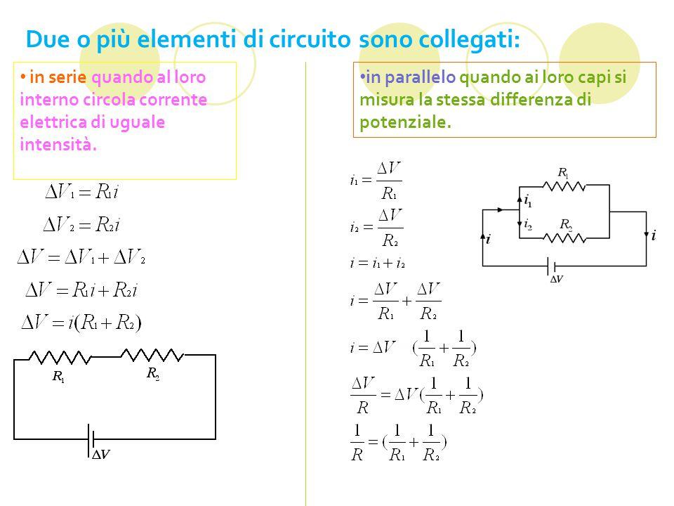 Due o più elementi di circuito sono collegati: in serie quando al loro interno circola corrente elettrica di uguale intensità.