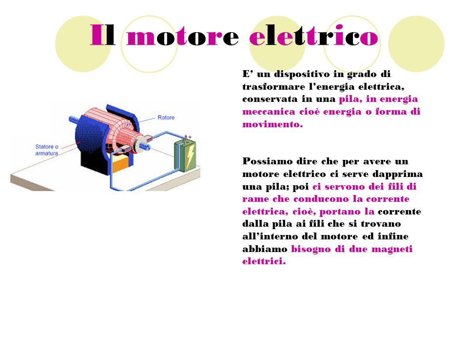 Il motore elettrico E' un dispositivo in grado di trasformare l'energia elettrica, conservata in una pila, in energia meccanica cioè energia o forma di movimento.