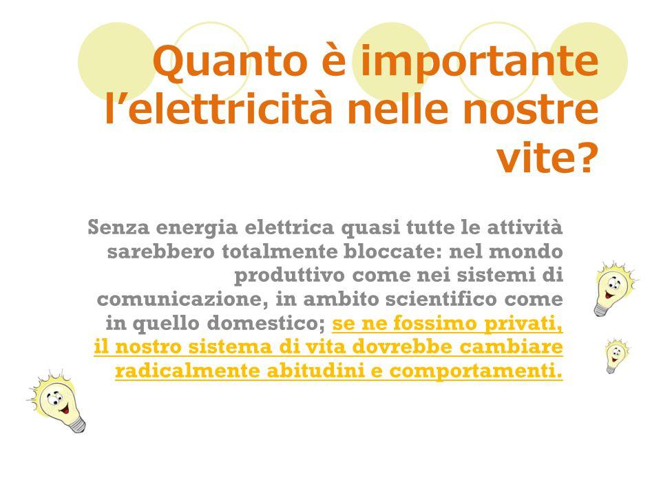 Quanto è importante l'elettricità nelle nostre vite.
