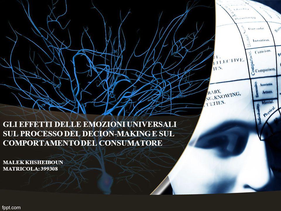 GLI EFFETTI DELLE EMOZIONI UNIVERSALI SUL PROCESSO DEL DECION-MAKING E SUL COMPORTAMENTO DEL CONSUMATORE MALEK KHSHEIBOUN MATRICOLA: 399308