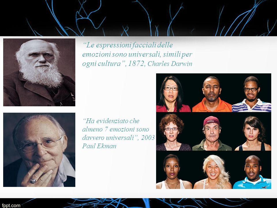 """""""Le espressioni facciali delle emozioni sono universali, simili per ogni cultura"""", 1872, Charles Darwin """"Ha evidenziato che almeno 7 emozioni sono dav"""