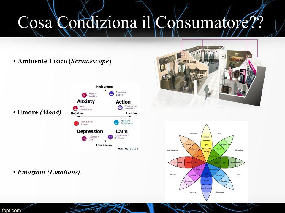 Cosa Condiziona il Consumatore?? Ambiente Fisico (Servicescape) Umore (Mood) Emozioni (Emotions)