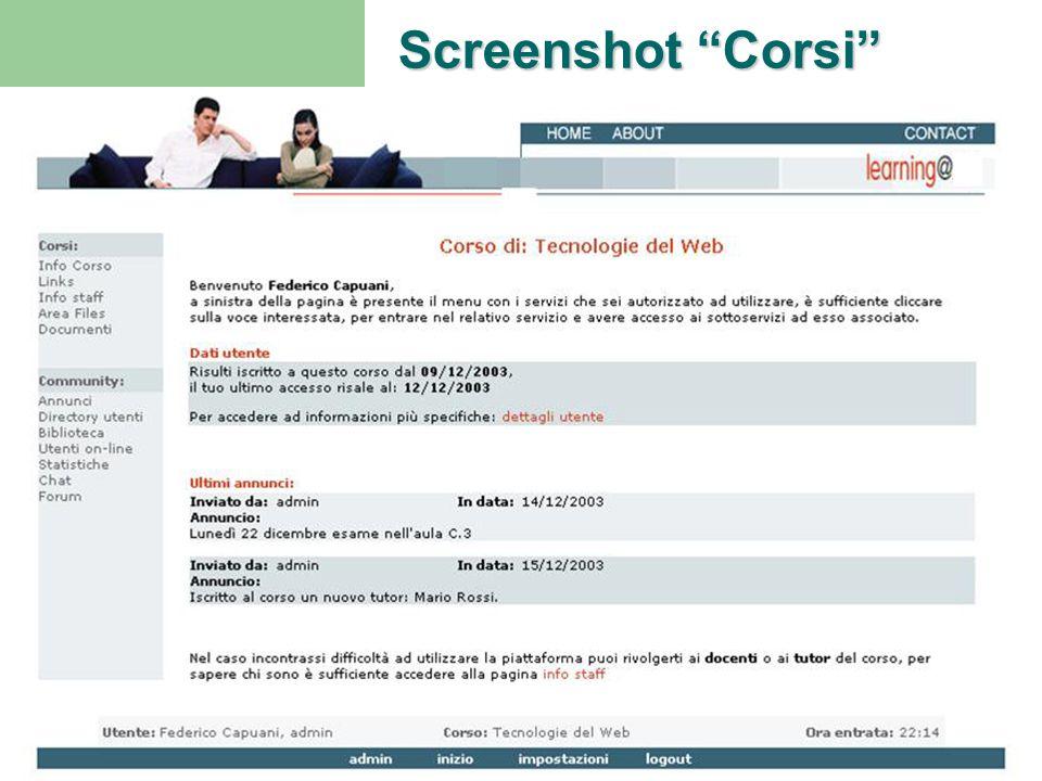 """Piattaforma E-learningScuola - OspedaleProgetto M.A.G. Ritorno H Screenshot """"Corsi"""""""