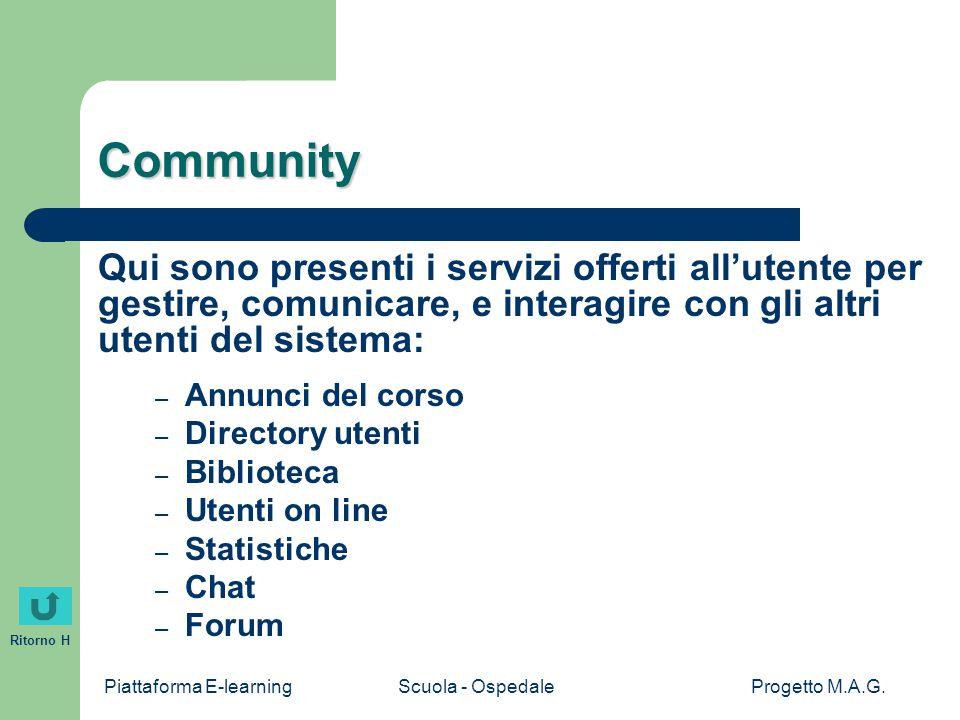 Piattaforma E-learningScuola - OspedaleProgetto M.A.G. Ritorno H Community Qui sono presenti i servizi offerti all'utente per gestire, comunicare, e i