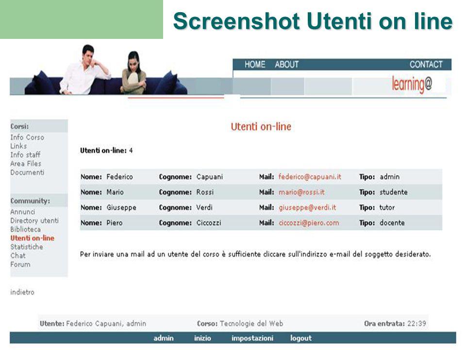 Piattaforma E-learningScuola - OspedaleProgetto M.A.G. Ritorno H Screenshot Utenti on line