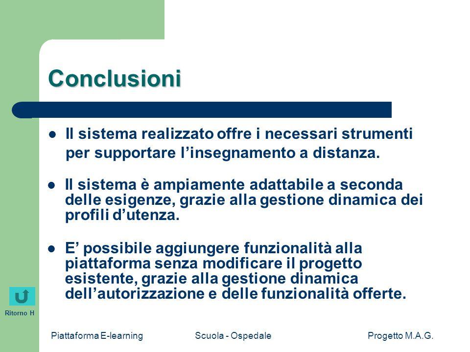 Piattaforma E-learningScuola - OspedaleProgetto M.A.G. Ritorno H Conclusioni Il sistema realizzato offre i necessari strumenti per supportare l'insegn
