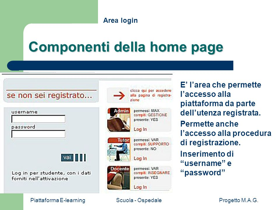 Piattaforma E-learningScuola - OspedaleProgetto M.A.G. Ritorno H Componenti della home page E' l'area che permette l'accesso alla piattaforma da parte