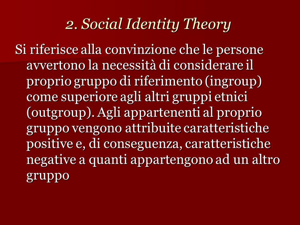 2. Social Identity Theory Si riferisce alla convinzione che le persone avvertono la necessità di considerare il proprio gruppo di riferimento (ingroup