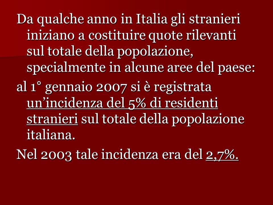 Da qualche anno in Italia gli stranieri iniziano a costituire quote rilevanti sul totale della popolazione, specialmente in alcune aree del paese: al 1° gennaio 2007 si è registrata un'incidenza del 5% di residenti stranieri sul totale della popolazione italiana.