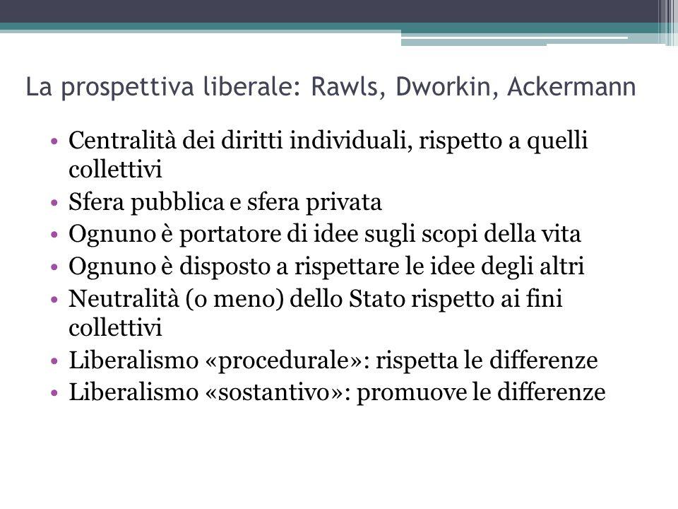 La prospettiva liberale: Rawls, Dworkin, Ackermann Centralità dei diritti individuali, rispetto a quelli collettivi Sfera pubblica e sfera privata Ogn