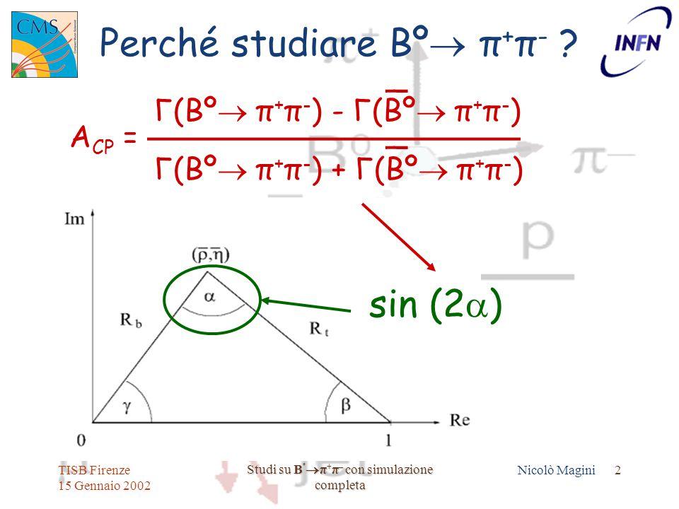 TISB Firenze 15 Gennaio 2002 Studi su B º  π + π – con simulazione completa Nicolò Magini 2 Perché studiare Bº  π + π - .