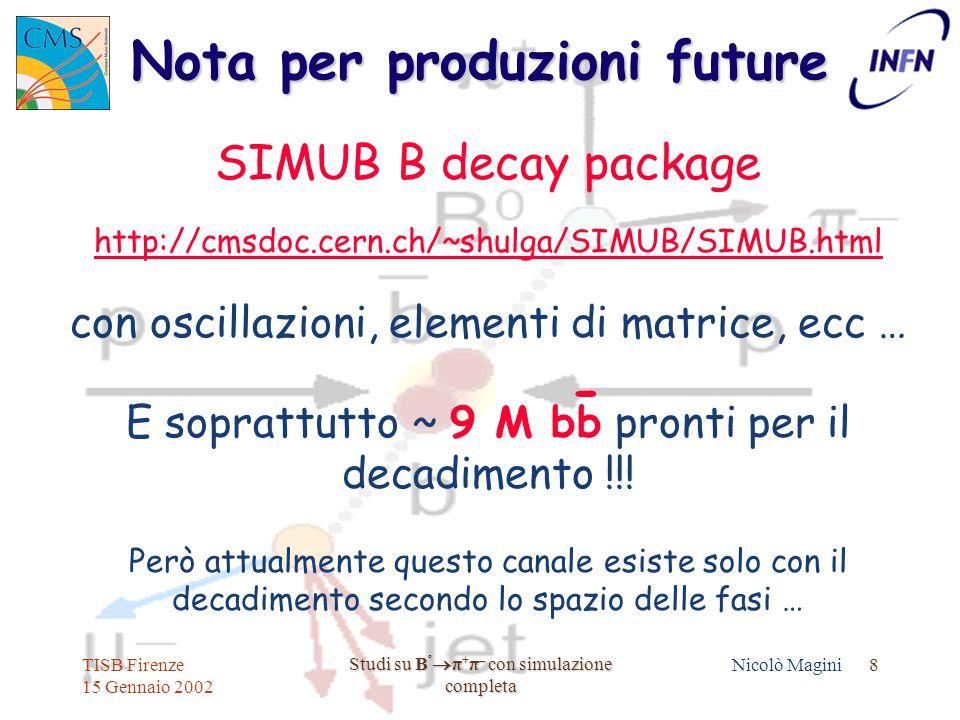 TISB Firenze 15 Gennaio 2002 Studi su B º  π + π – con simulazione completa Nicolò Magini 8 Nota per produzioni future SIMUB B decay package http://cmsdoc.cern.ch/~shulga/SIMUB/SIMUB.html con oscillazioni, elementi di matrice, ecc … E soprattutto ~ 9 M bb pronti per il decadimento !!.