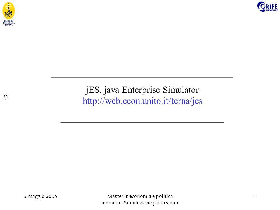2 maggio 2005Master in economia e politica sanitaria - Simulazione per la sanità 1 _jES _______________________________________ jES, java Enterprise Simulator http://web.econ.unito.it/terna/jes ___________________________________