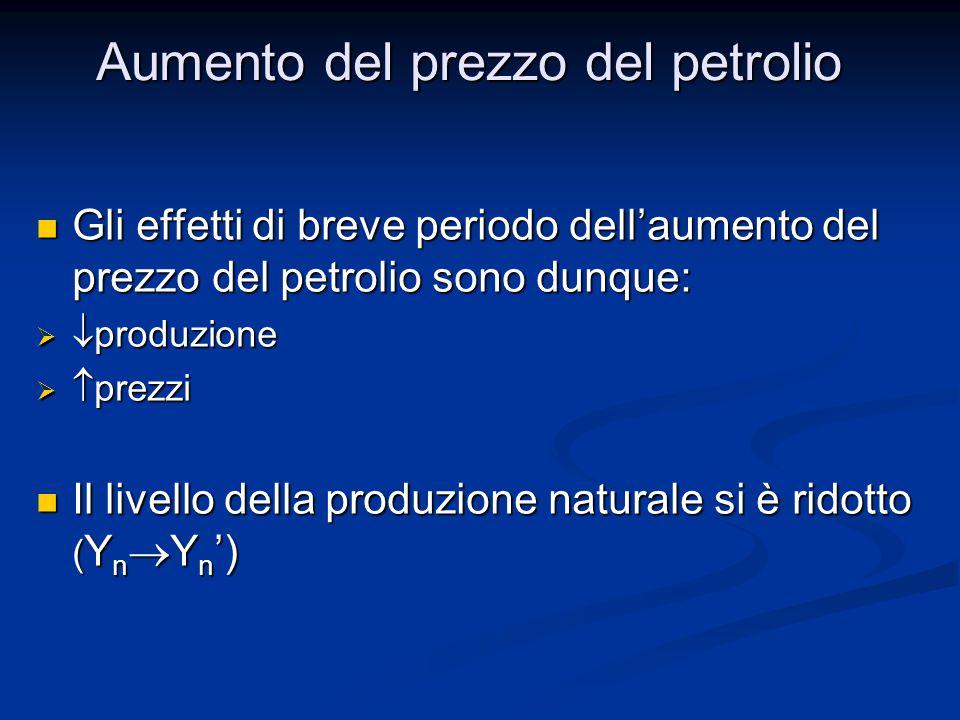 Gli effetti di breve periodo dell'aumento del prezzo del petrolio sono dunque: Gli effetti di breve periodo dell'aumento del prezzo del petrolio sono