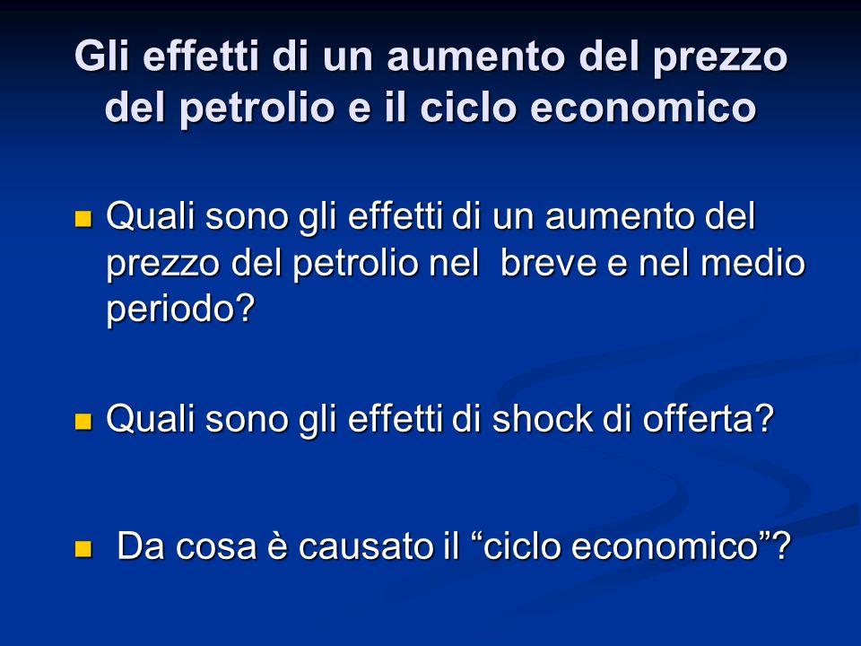 Gli effetti di un aumento del prezzo del petrolio e il ciclo economico Quali sono gli effetti di un aumento del prezzo del petrolio nel breve e nel me