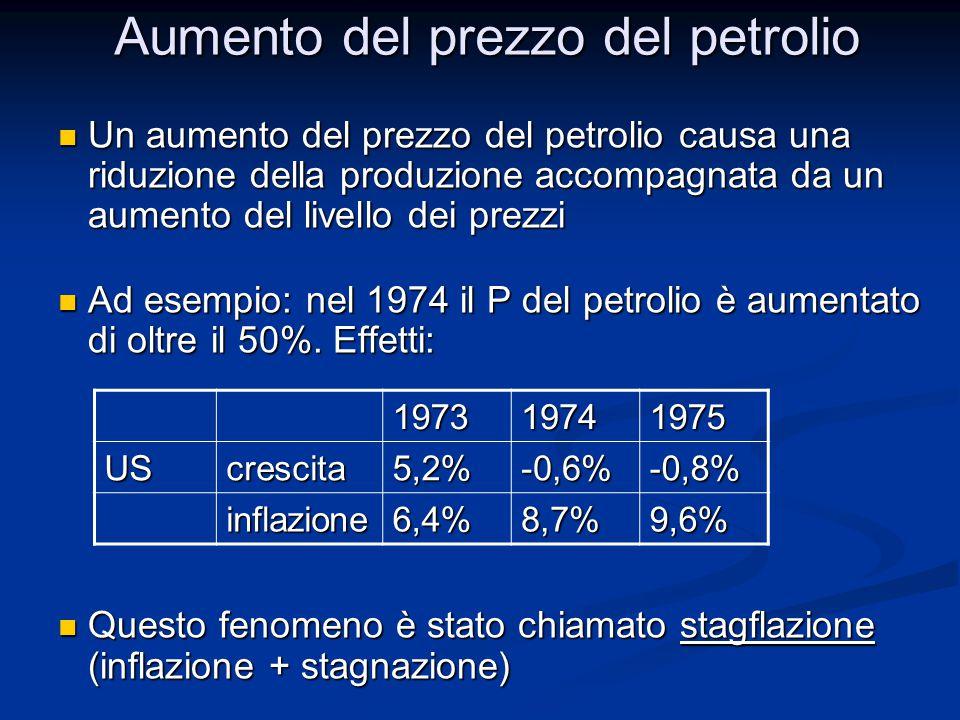 Un aumento del prezzo del petrolio causa una riduzione della produzione accompagnata da un aumento del livello dei prezzi Un aumento del prezzo del pe
